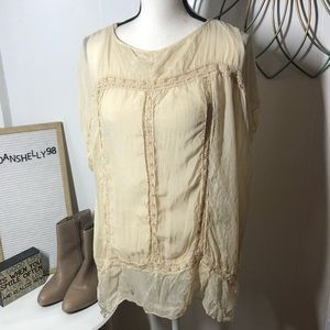Giulia Made in Italy Silk Lace Shell over Tank L